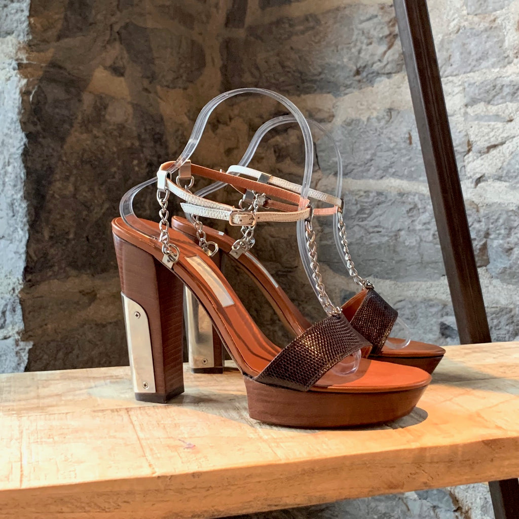 Lanvin Brown Leather Metal Chain Heeled Sandals