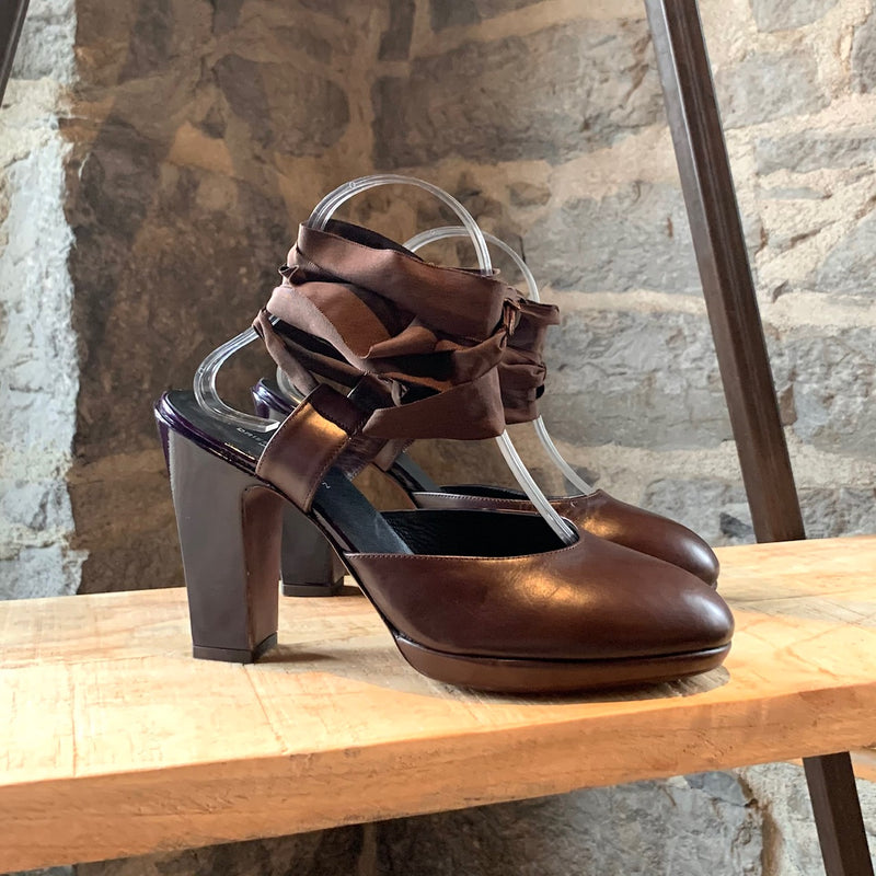 Dries Van Noten Brown Purple Wrap Around Pumps