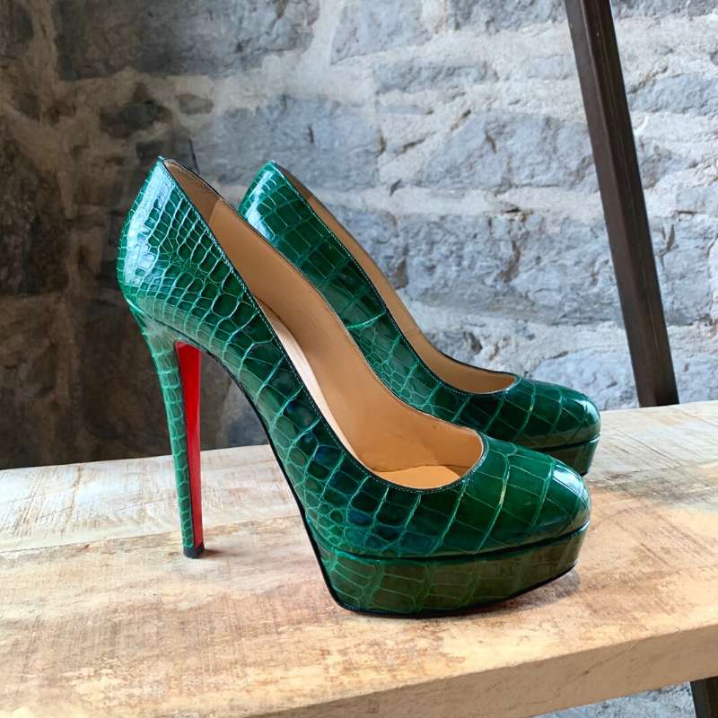 Christian Louboutin Green Crocodile Bianca Platform Pumps