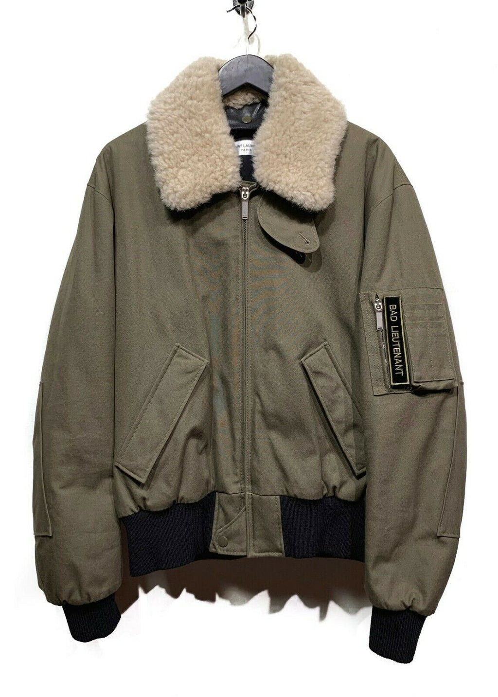 Saint Laurent Paris Khaki ''Bad Lieutenant'' Aviator Bomber Jacket