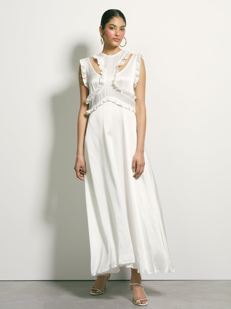 Almost Always Silk Dress - White