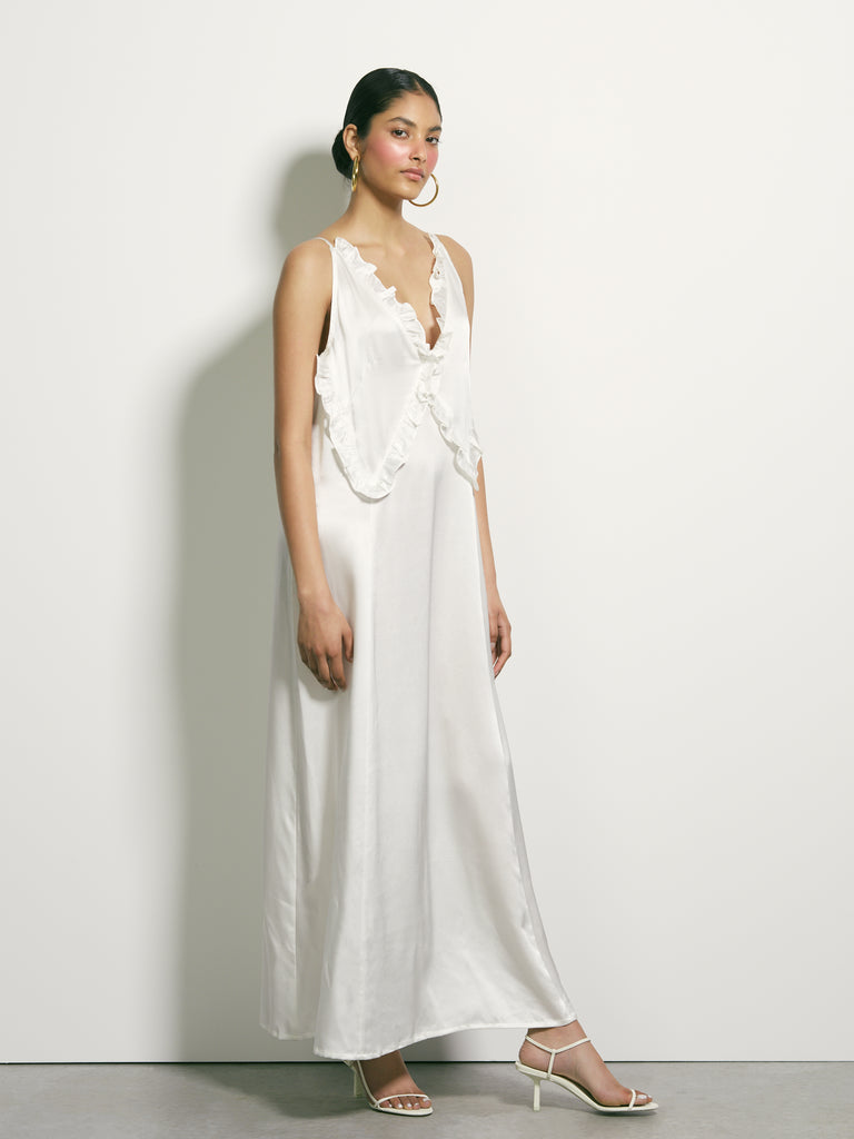 There Is Here Silk Dress - White