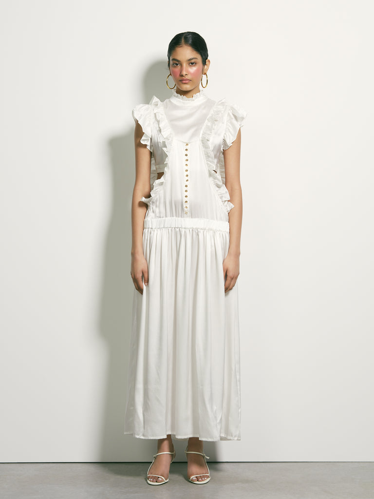 Corporeal Silk Dress - White