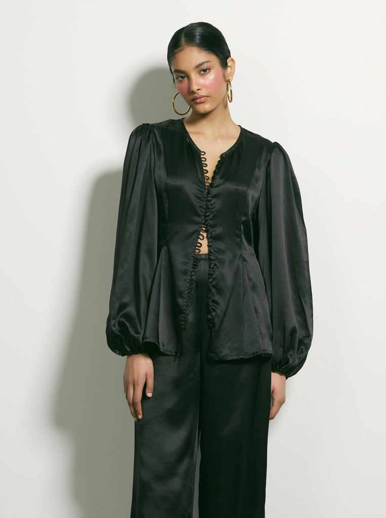 Lay Low Silk Blouse - Black
