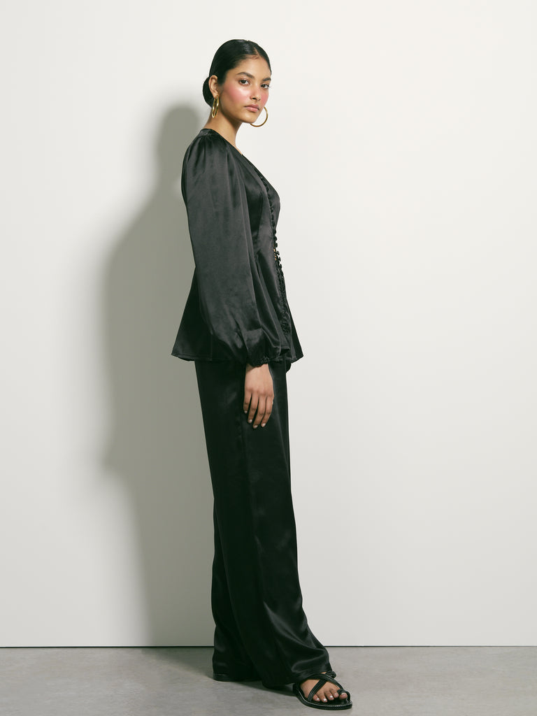 Cosmic Tide Silk Pants - Black