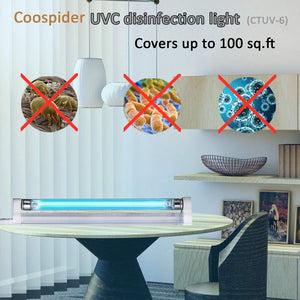 UVC Germicidal Lamp UV-C Bulb Light with 5ft Cord and Plug Cover up to 100 sq. ft. Room 110V 6W UVC (Ozone-free)