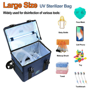 [Limited Time Deal]UVC Ozone-free Sanitizer Bag for Cleaner Disinfection Germicidal W/Quartz UVC Light 5/15/30 Mins Timer & USB 5V DC Input CTUV-T2