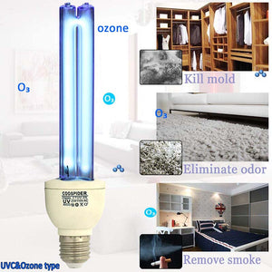 UV with Ozone Germicidal Light Bulb Timer Lamp Base E26 25W 110V, Covers up to 400sq.ft (CTUV-25)