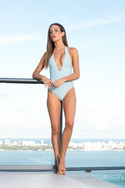 Feathers Sky Blue Vivian One Piece