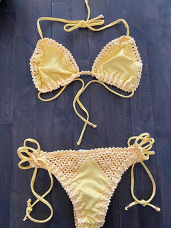 SET - Light yellow Crochet Bikini