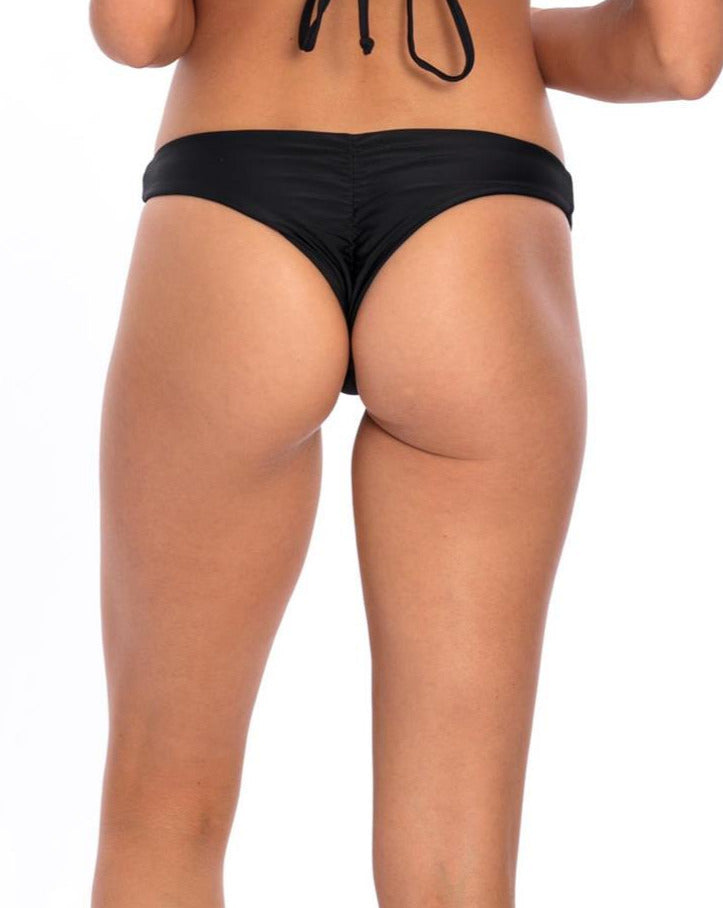 BOTTOM - Black Lisa with Scrunch Bikini Bottom