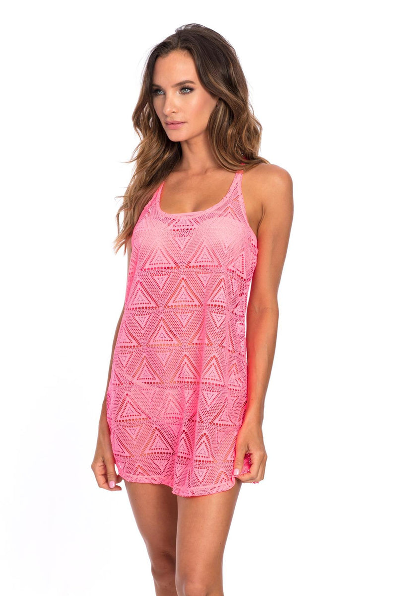 Mesh Coral Neon Cover Up
