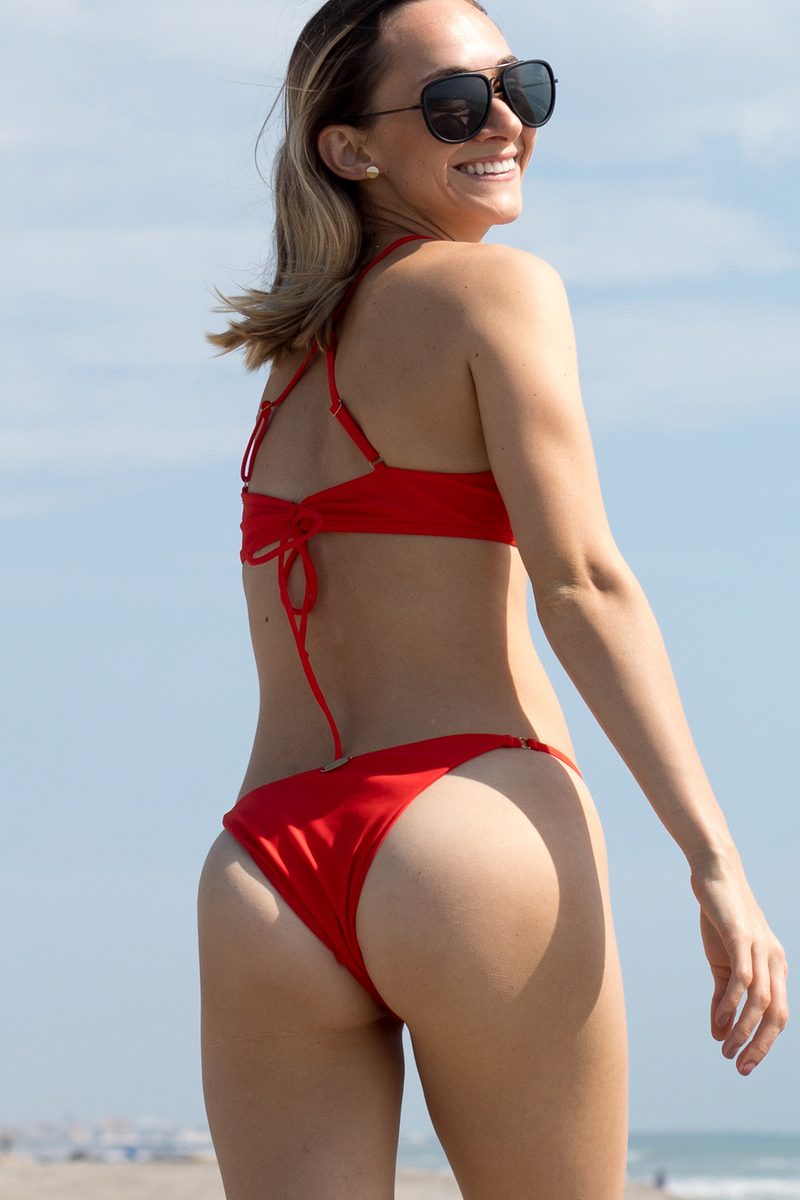 BOTTOM - Lucy Red color Bikini Bottom