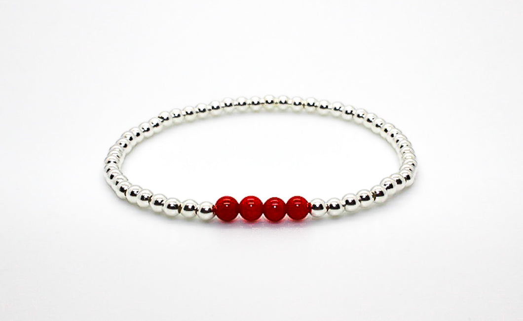 Silver Bamboo Coral Bracelet