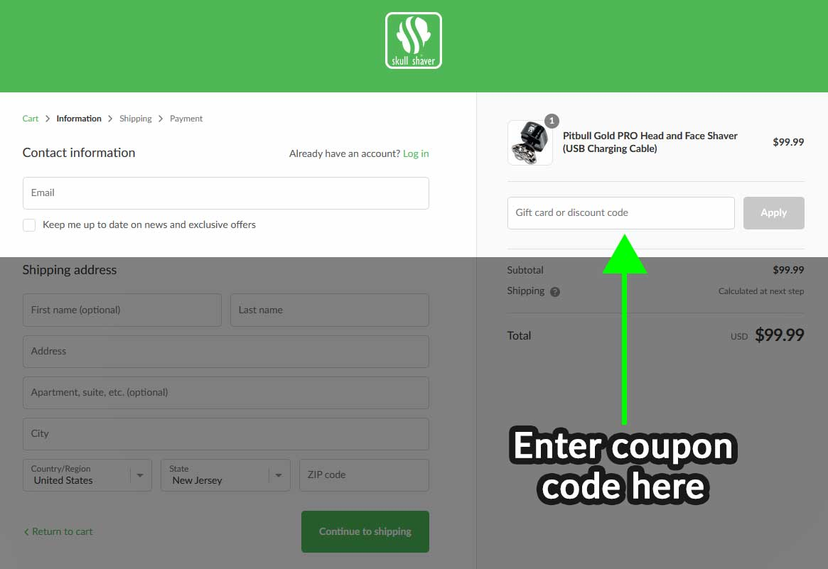 to use a coupon code on a desktop or laptop computer, write the coupon in the field that says Gift card or discount code
