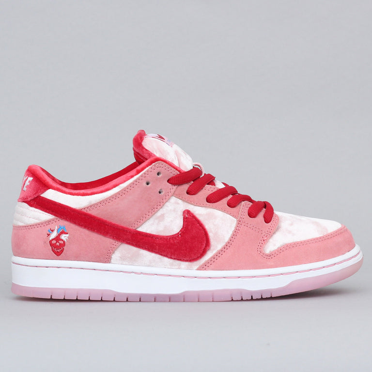 Nike SB X Strangelove Dunk Low Pro QS Shoes Bright Melon / Gym Red - Medium Soft Pink