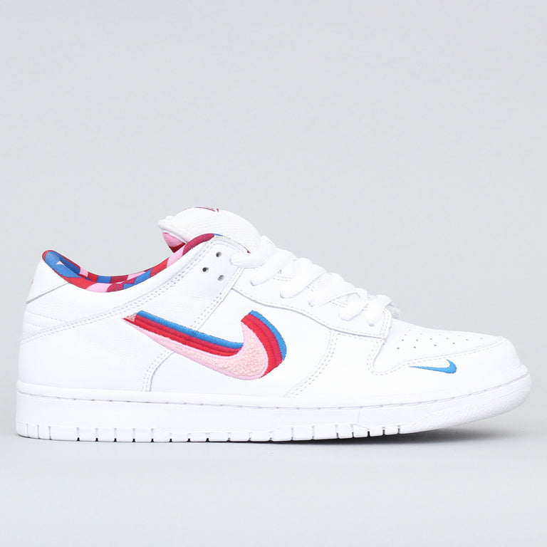 Nike SB X Parra Dunk Low OG QS Shoes White / Pink Rise - Gym Red - Military Blue