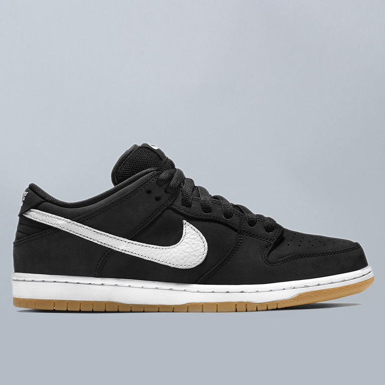 Nike SB Orange Label Dunk Low Pro ISO Shoes Black / White - Black