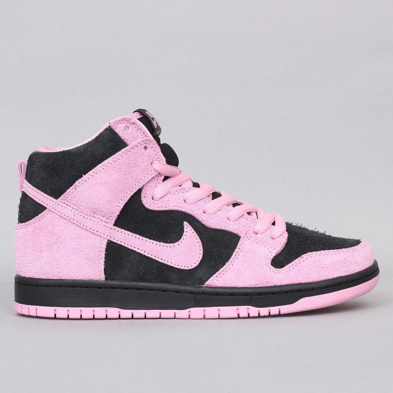 Nike SB Dunk High Pro Premium Shoes Black / Pink Rise - Lucky Green - White
