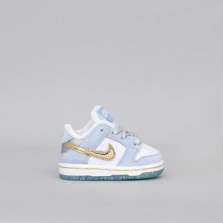 Nike SB Dunk Low Pro QS (TD) Shoes Psychic Blue / Metallic Gold / White