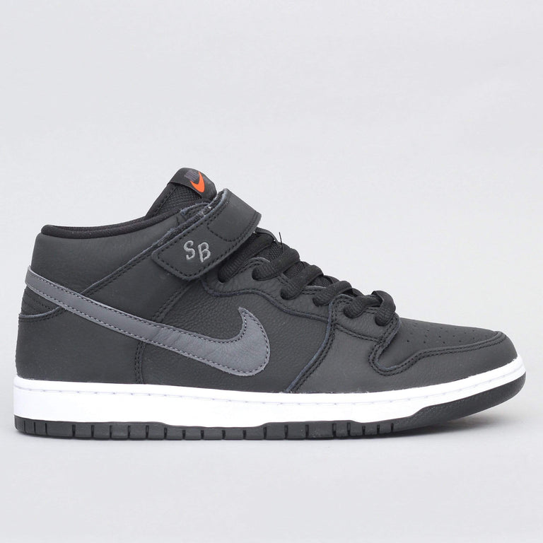 Nike SB Dunk Mid Pro ISO Shoes Black / Dark Grey - Black - White