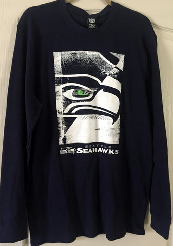 NFL Team Apparel Seattle Seahawks Long Sleeve Navy Thermal Top Size M, XL - Teammvpsports