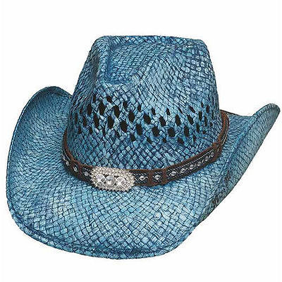 Woman's Summer Toyo Straw Hat - Bullhide - Wild and Blue - Sizes S, M, L, XL - Team MVP Sports