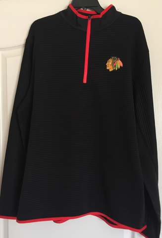 NHL Chicago Blackhawks Black 1/4 Zip Top