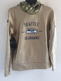 Nike Women's Salute To Service Tan Hoody Seattle Sehawks Size S