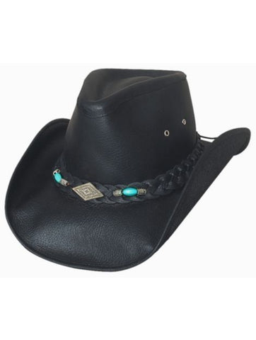 Bullhide ROYSTON Women's Leather Cowboy Hat Black or Chocolate - M, L, XL - Teammvpsports