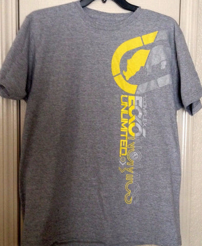 Ecko Unlimited Men's YellowvGray Tee Shirt ARMPIT RHINO VERTICAL GRAPHIC Size L - Teammvpsports