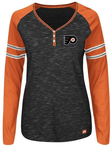 Majestic Philadelphia Flyers Women's V-Neck PURE FURY  Shirt  Size L - Teammvpsports