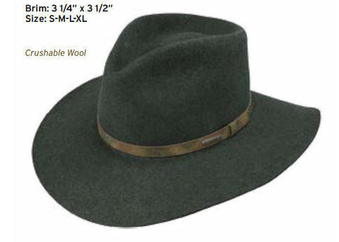 Stetson Water Repellent Crushable Hat PALMER Olive Mix Color Size XL - Teammvpsports