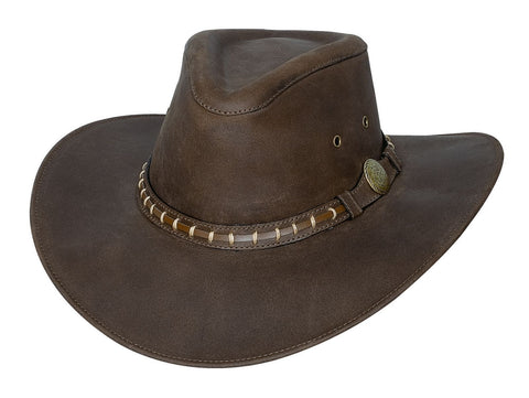 Bullhide Top Grain Leather Hat - TIMBER MOUNTAIN - Brown - Sizes M, L, XL - Teammvpsports
