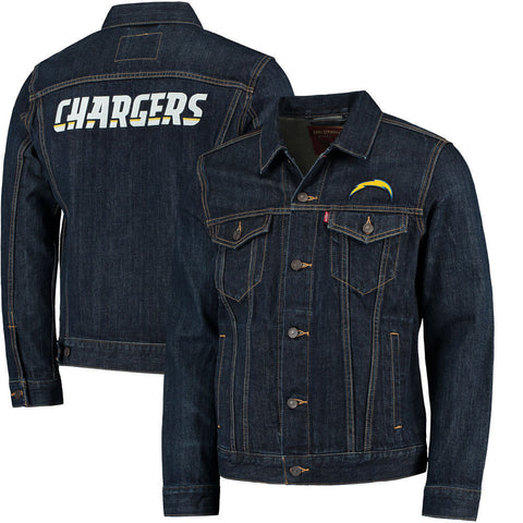 Levi Strauss Los Angeles Chargers Blue Denim Trucker Jacket Size XL - Teammvpsports
