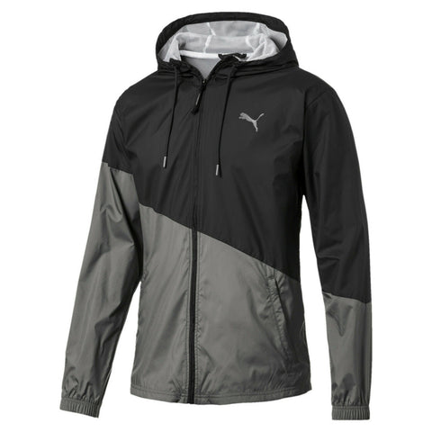Puma Mens ACE Windbreaker Full Zip Hooded Running Jacket Charcoal Gray Size L - Teammvpsports