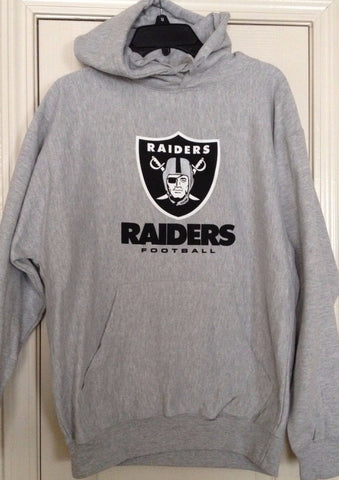 Oakland Raiders Heather Gray Team Apparel Hoodie Size L - Teammvpsports
