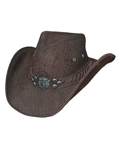Bullhide Down Under Collection American Buffalo Top Grain Leather Hat Brown - Teammvpsports