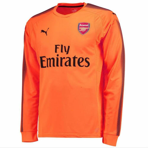 Puma Arsenal Goalkeeper Jersey 2017-2018 Long Sleeve Fluorescent Orange Sz L, XL - Teammvpsports