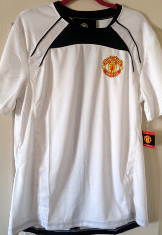 Manchester United football club Shirt Official Product Size L - White With Black - Teammvpsports