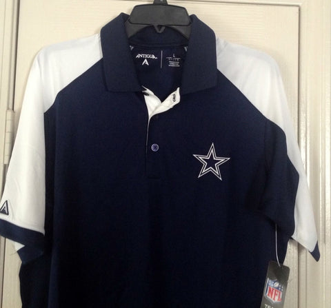 DALLAS COWBOYS ANTIGUA  CENTURY BLUE WHITE GOLF POLO Size M, L - Teammvpsports