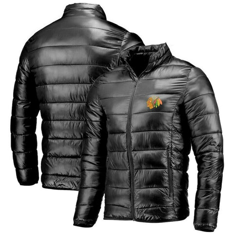 FANATICS CHICAGO BLACKHAWKS NHL HOCKEY PUFFER JACKET BLACK