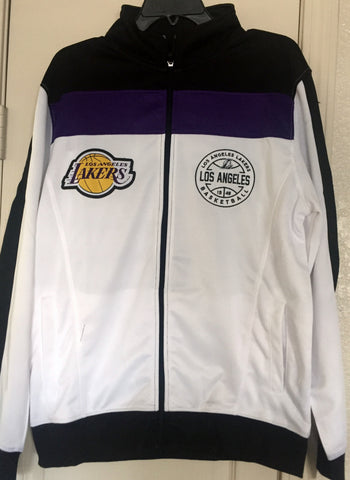 NBA Los Angeles Lakers Court Side Track Jacket White Full Zp Size M, L, XL - Teammvpsports
