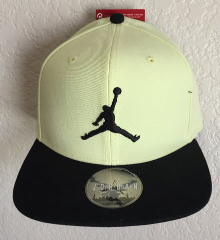 Nike Air Jordan Yellow Black Flat Brim Jumpman Cap - Adjustable