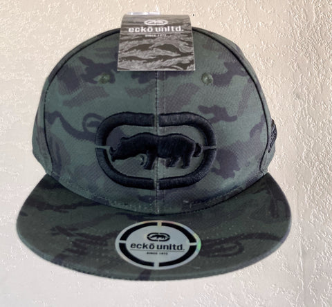 ECKO UNLIMITED GREEN CAMO with BLACK RAISED RHINO SNAPBACK ADJUSTABLE CAP
