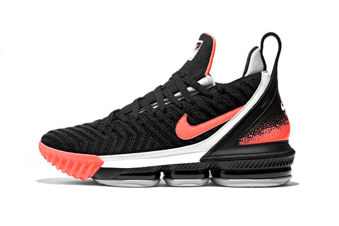 Nike Lebron XVI, Black/Hot Lave/Flt Silver Basketball Shoe