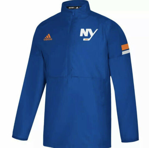 adidas Mens NHL New York Islanders Game Mode 1/4 Zip Team Stripe Pullover Jacket