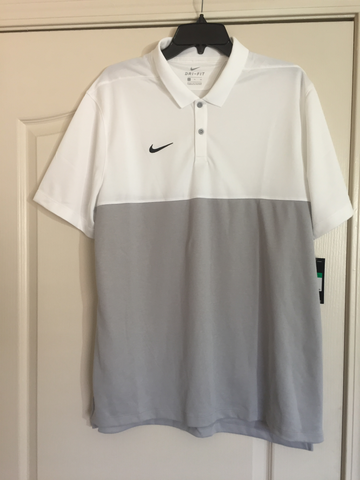 Nike Grey White Dri-Fit Golf Polo Shirt - Teammvpsports