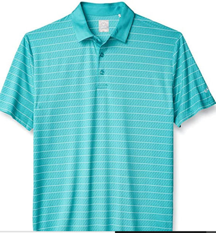 Callaway Performance Short Sleeve Stripe Polo Shirt, Two Color Baltic, - Teammvpsports