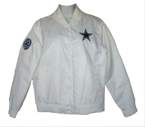 Dallas Cowboys Authentic Apparel Womens White Logo Button Jacket Size M - Teammvpsports